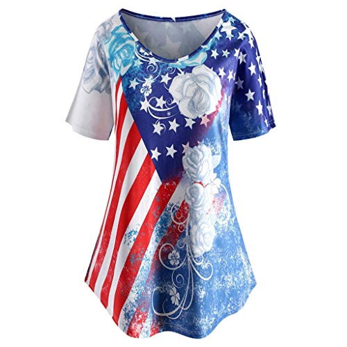 (New in July 4 Th Respctful✿Short Sleeve Tops Women Plus Size American Flag Print Swing Casual Hem Blouse Blue)