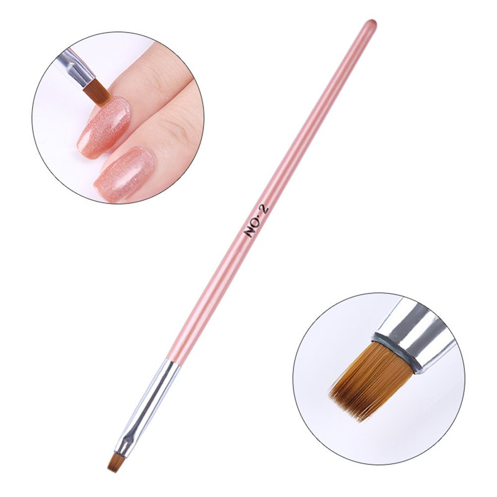BORN PRETTY 1Pc Nail Art Brush Powder Dust Clean Drawing Flat Pen Edge Cuticle Cleaning Pink Handle Manicure Tool