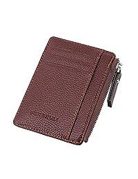 Badiya Slim Mini PU Leather Front Pocket Wallet with Zipper Unisex Coin Purse