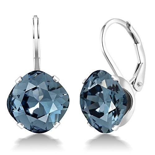 Sterling Silver 10mm Cushion Blue Earrings Made with Swarovski Crystals