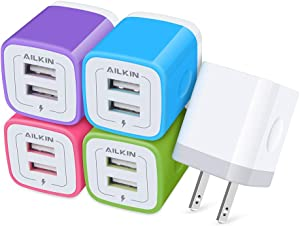 【5Pack】 USB Wall Charger, Charger Adapter, Ailkin 2.1Amp Dual Port Quick Charge Plug Cube for iPhone 12/SE/11 Pro Max/8/7/6S/6S Plus/6 Plus/6, Samsung Galaxy, LG, HTC, Moto, Kindle Charging Box Block