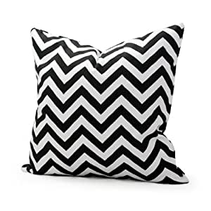 Lavievert Decorative Cotton Canvas Square Throw Pillow Cover Cushion Case Handmade White and Black Chevron Stripe Toss Pillowcase with Hidden Zipper Closure (For Living Room, Sofa, Etc... Fit a 16 X 16 Inches Insert)