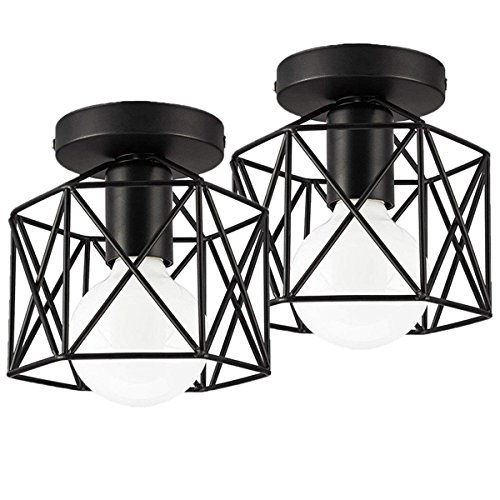 Industrial Ceiling Light, Licperron Edison Hanging Caged Pendant Light Fixture, Pack of 2 - Ceiling Hanging Lamp Light Fixture