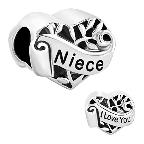 LuckyJewelry Niece I Love You Heart Charm Beads Fit Jewelry Charms Bracelet