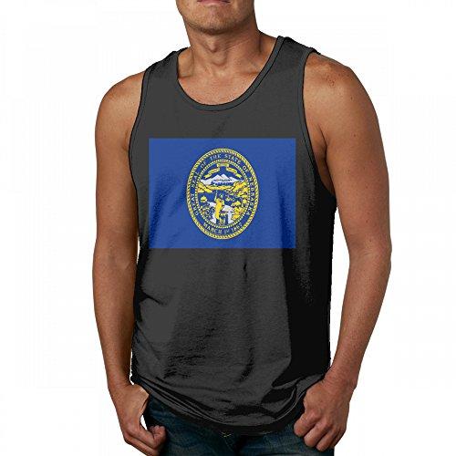 Flag of Nebraska Men's Cool Black Tank Top T-Shirt Fitness Cotton ()