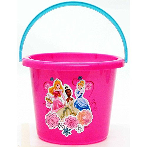 Disney Princess Pail - Disney Princess Plastic Bucket - Party Favor Basket, Beach Basket Trick or Treat Pail Travel;