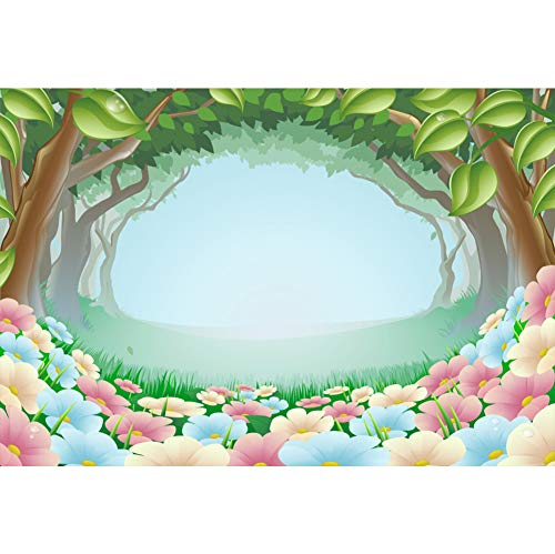 Baocicco 7x5ft Cartoon Forest Backdrop Pink Flower Carpet Cartoon Green Trees Arch Photography Background Enchanted Forest Theme Birthday Party Baby Shower Newborn Baby Girls Boys Portrait -