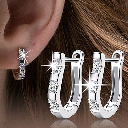 sterling silver stud gem earrings - 2