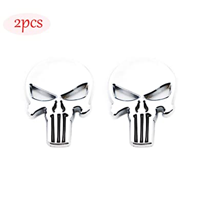 CARRUN 2x 3D The Punisher Emblem Skeleton skull metal badge Car Badge Sticker (Silver): Automotive