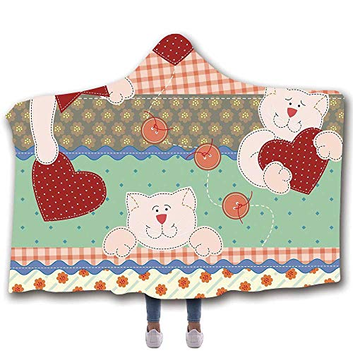 MOOCOM Shabby Chic Decor Durable Hooded Blanket,Funny Teddy Bears with Hearts Patchwork Style Cute Kids Playroom Print Decorative for All Seasons,60