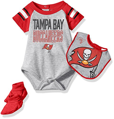 Outerstuff NFL Infant Blitz Onesie, Bib and Bootie Set-Heather Grey-12 Months, Tampa Bay Buccaneers