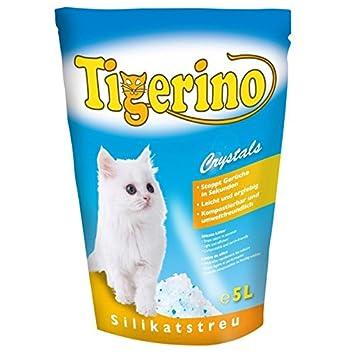 Tigerino Crystals - 6 paquetes de 5 l de arena de silicio para gatos: elimina los malos olores y tiene un enorme poder absorbente y un excelente ...