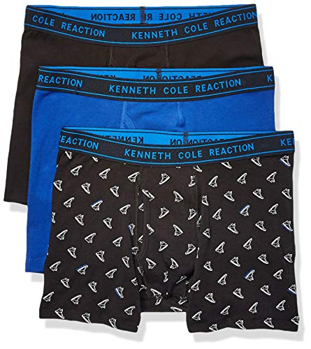 Kenneth Cole REACTION Men's Cotton Stretch Boxer Brief Underwear, Multipack, Black Sneaker, Surf-3 Pack, Medium