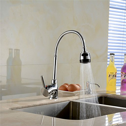 - Weirun Brass 360 Degree Swivel Modern Hot&Cold Mixer Tap Single Handle Kitchen Sink Sprayer Faucet, Chrome Finish