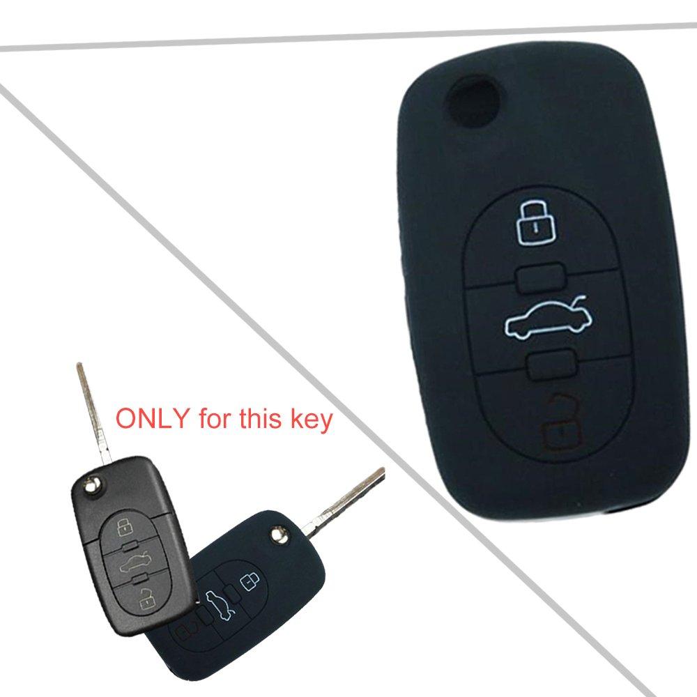Tuqiang® für Audi A6 A4 A4L A6L A1 1PC Schwarz 3 Tasten Intelligent Silikon klappschlüssel hülle Autoschlüssel Schlüsselcover TQ-32110
