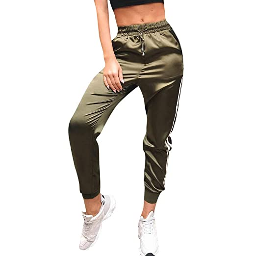89ab12b3c3d2b TIANMI 2019 Spring Deals! Women Striped Pants Sports Casual Pants Elastic  Waist Trousers Green