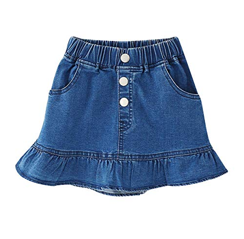 Ameyda Kids Kids Skirt, Elastic High Waist Ruffle Denim Scooter Skirt for Toddler & Little Girls, Blue, Tag Size 140 = US 7-8Y