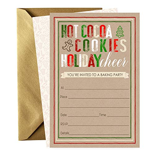 - Christmas Party Invitations Set of 15 Cards and Gold Envelopes Holiday Cheer Cookie Swap