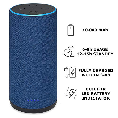 - Battery Base for Echo 2, Gorgeous Linen-Covered Portable Power Bank with 10,000mAh Capacity for up 8 Hours of Continuous Playtime for Echo 2nd Generation - by Wasserstein (Blue Fabric Cover)