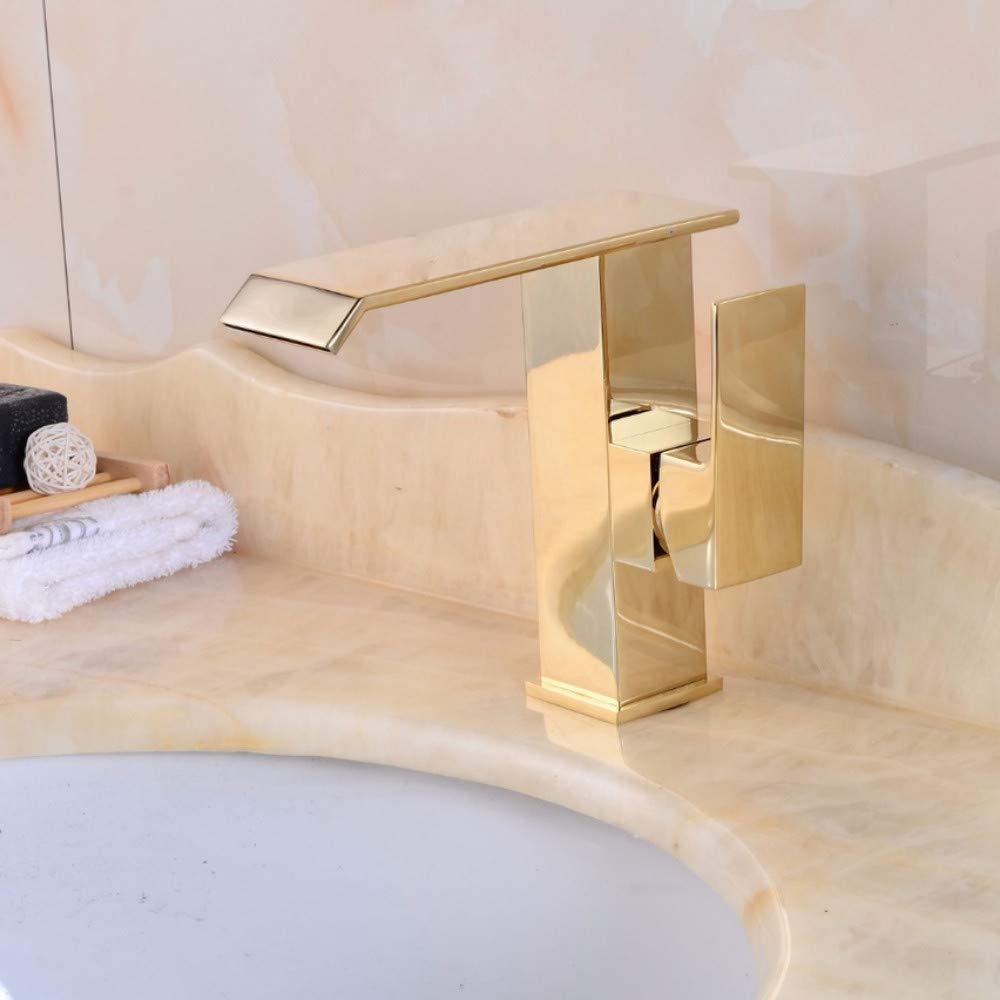 Lddpl Tap Hot Sale Waterfall Bathroom golden Faucet Single Handle Vanity Sink Mixer Tap Deck Mount