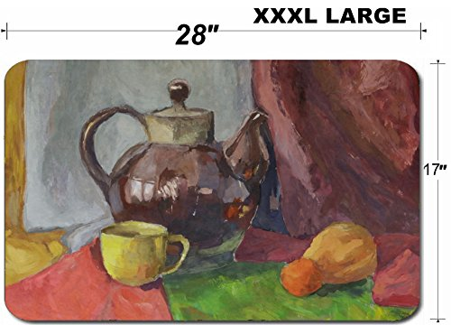 Liili Large Table Mat Non-Slip Natural Rubber Desk Pads IMAGE ID: 21955203 Still life with Teapot Painting Gouache on (Best Liili Teapots)