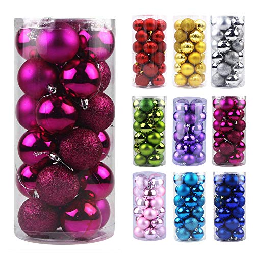 Emopeak 24Pcs Christmas Mini Balls Ornaments for Xmas Christmas Tree - Small Shatterproof Christmas Tree Decorations Hanging Ball for Holiday Wedding Party Decoration (Rose Red, 1.2