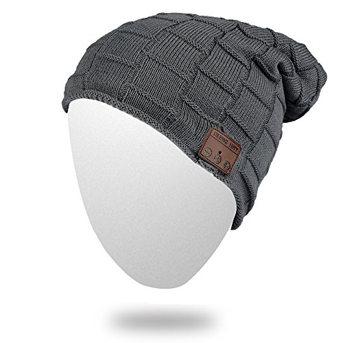 Momoday Bluetooth Beanie Knitted Winter Warm Music Unisex Hat Cap with Bluetooth Headphone Microphone for Hands Free Talking Winter Sports Fitness Gym Jogging Camping (DarkGray2)