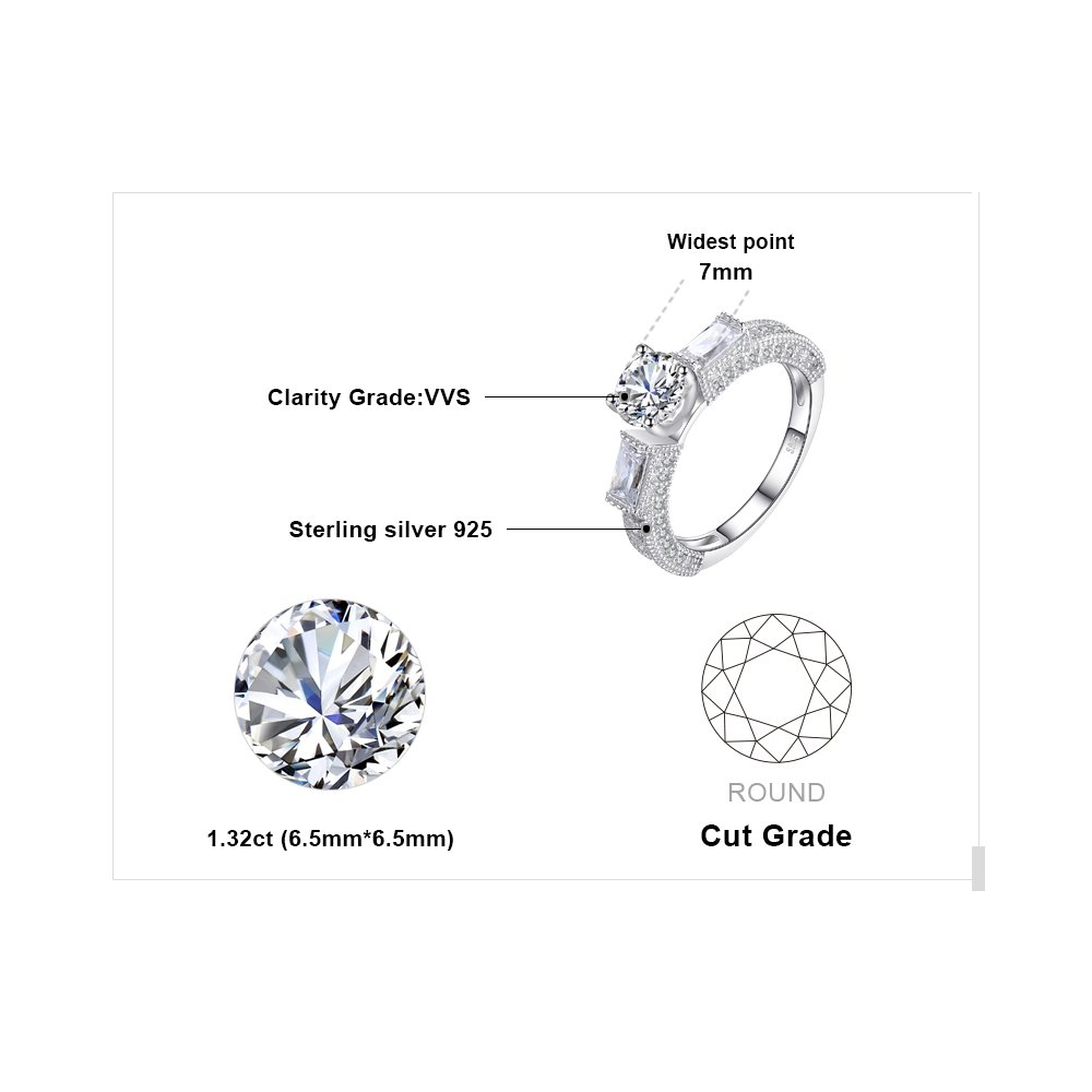 JewelryPalace Cubic Zirconia Anniversary Wedding Ring 925 Sterling Silver