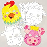 paper horse mask - Farm Animals Color-in Card Mask Craft Kits for Children to Make Decorate and Wear Fancy Dress Party (Pack of 6)