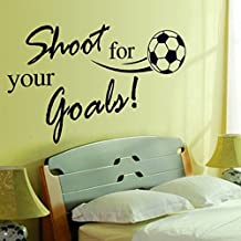 """Dnven (32""""w X 24""""h) Kids Sports Learning PVC Removable Wall Art Sticker Decal DIY Room Kid Mural Decor Shoot For Your Goals Soccer Football Quotes Lettering Vinyl Wall Decals Motivational"""