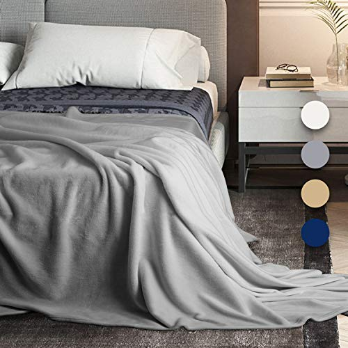 BedStory Ultra Soft Throw Blanket, Queen Size Flannel Blankets for Bed Couch Sofa, Fuzzy Warm Blanket with Plush Microfiber, Cozy for All Season - Winter Fall Spring Summer - Gray