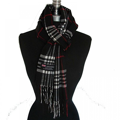 Black_(US Seller)New Fashion Scarf Scotland Made Warm Wool - A91