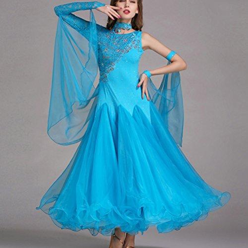 Donne Gonna S Dancewear Wqwlf Di Balli xxl Valzer Performance Espansione Sala Tango Blue Ballo Costumi Moderna Per Abiti Danza Concorrenza Da Smooth 0A8Hqw8rX