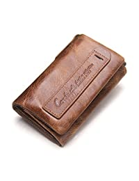 Contacts Genuine Leather Trifold KeyChains Car Key Holder Zipper Coin Bag Mini Wallet