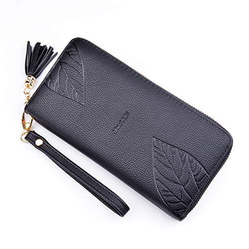 (Wallet female long fashion leaves solid color zipper large capacity multi-card position hand-held wallet citron)