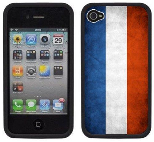 Drapeau de la France | Fait à la main | iPhone 4 4s | Etui Housse noir