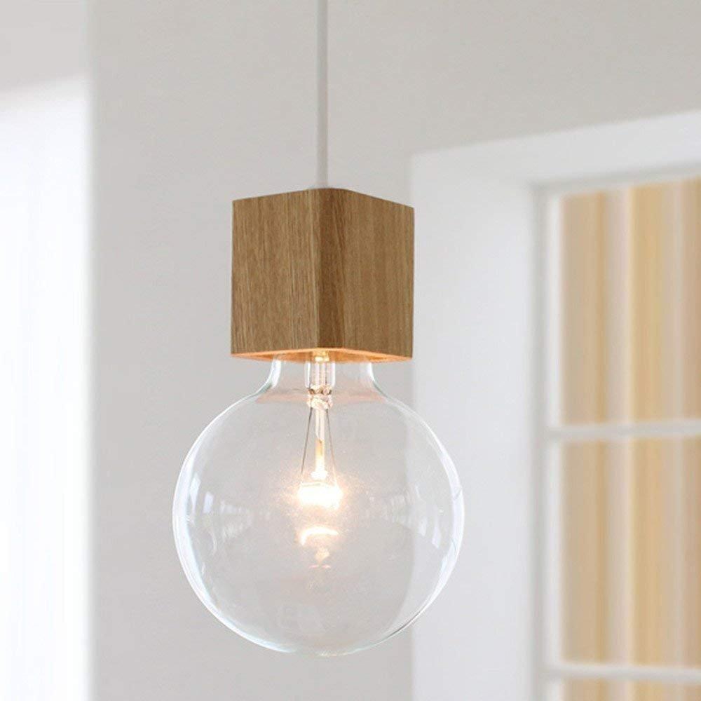 BOKT 1-Light Minimalist Ceiling Pendant Lamp Enjoy DIY Multi-Hanging Lantern kit Natural Wooden Lamp Holder E26/E27 Island by BOKT (Image #2)