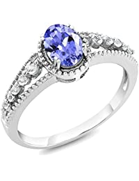 1.00 Ct Oval Tanzanite & White Topaz 925 Sterling Silver Women's Ring (Available in size 5, 6, 7, 8, 9)