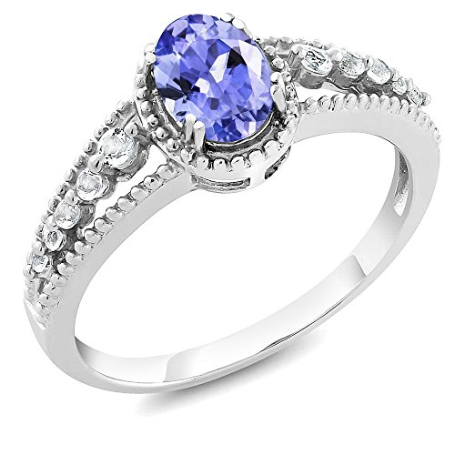 1.00 Ct Natural Oval Tanzanite and White Topaz 925 Sterling Silver Women's Ring,  ring size - Tanzanite Rings Silver