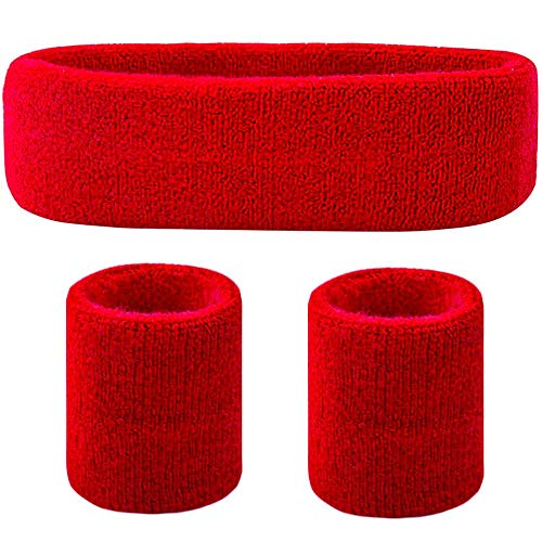 Favofit Headband/Wristbands for Women Men Girls Boys for Gym Workout & Yoga, 3 Pack, Super Comfy Sports Sweatbands for Football Baseball Basketball Soccer & Tennis, Sweat Out of Your Eyes & Wrists]()