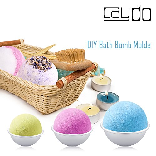 Caydo 6 Set DIY Metal Bath Bomb Mold with 3 Sizes 12 Pieces for Crafting Your Own Fizzles