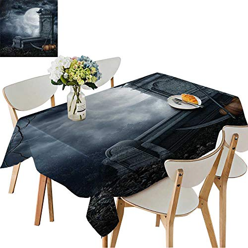 UHOO2018 Square/Rectangle Polyester Tablecloth Table Cover Halloween Scenery with a Spooky Tombstone and Pumpkins for Dining Room,54 x102inch