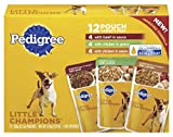 Pedigree Little Champions 12 Pouch Variety Pack Dog Food With 4 Beef in Sauce, 4 Chicken in Gravy, 4 Chicken in Sauce, 3.97 lb Carton