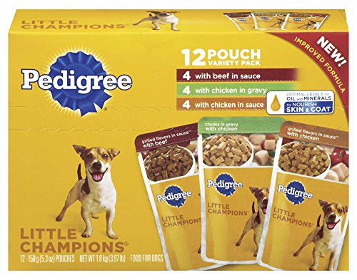 Pedigree Little Champions 12 Pouch Variety Pack Dog Food With 4 Beef in Sauce, 4 Chicken in Gravy, 4 Chicken in Sauce, 3.97 lb Carton (Pedigree Dog Food Pouches compare prices)