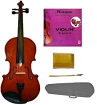 GRACE 1/10 Size Natural Acoustic Violin with Case and Bow + Free Rosin+Merano Brand E String