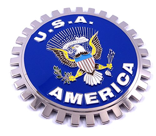 USA America Grille Badge for car truck grill mount flag metal chrome plated