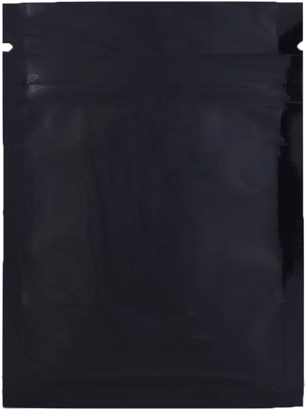 "100 Durable Double-Sided Metallic Foil Mylar Flat Ziplock Bag 7.5x10cm (3x4"") (Black)"