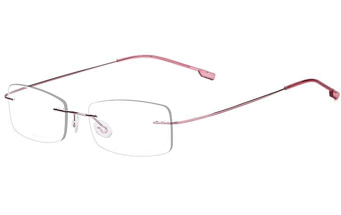 0016a663d1 Image Unavailable. Image not available for. Colour  Agstum Mens Womens Titanium  Alloy Flexible Rimless Frame Prescription Eyeglasses ...