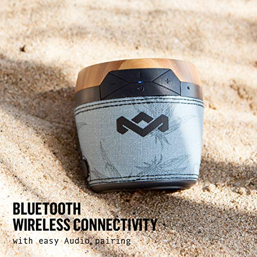 House of Marley, Chant Mini Bluetooth Portable Wireless Speaker, Splash Resistant IPX4, Full Range Sound, Integrated Mic for Use as Speaker Phone, Carabiner, Sustainably Crafted, EM-JA007-BH Blue Hemp