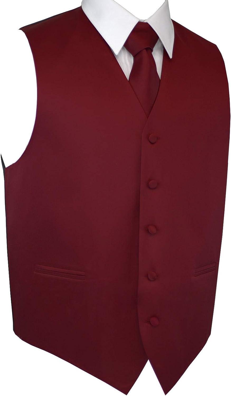 Brand Q Men's Formal Prom Wedding Tuxedo Vest, Tie & Pocket Square Set in Burgundy